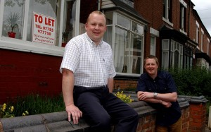 Property Developers Philip,(left), and Mark Stewardson outside 3 of their letting properties in Thimblemill Rd., Bearwood, 13-06-02. Pics for ST City by John Robertson.